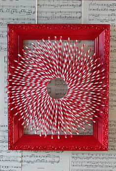 Red & White Straw Wreath...I also like this idea for an Auburn wreath b/c you can get white and orange straws from Waterburger!