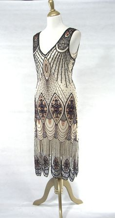 The Vamp Black White : Beaded 1920's Style Gowns, Art Deco Gowns, 20's Flapper Fringe Dresses, Vintage Daywear, Hollywood Reproductions..... from LeLuxe Clothing