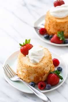 Mini Angel Food Cakes with Fresh Whipped Cream & Berries - Light and airy and truly heavenly!