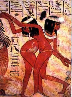 Dancing girls, detail. From the tomb of Nebamun, Thebes Egypt. Painted plaster. Circa 1400 B.C.