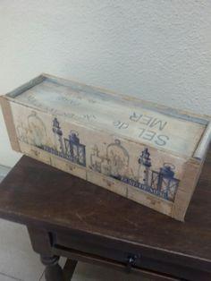 caja de vinos reciclada