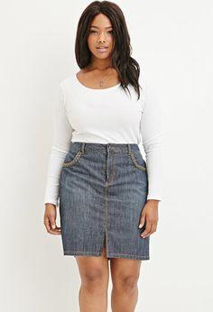 Plus Size Braided-Trim Denim Skirt | FOREVER 21 - 2000162624
