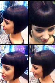 , center parting – short hair bangs Bob Haircut With Bangs, Short Hair With Bangs, Short Bob Haircuts, Short Hair Cuts, Hair Bangs, Pixie Hairstyles, Hairstyles With Bangs, Cool Hairstyles, Medium Hair Styles