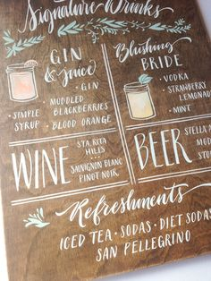 11x14 Wedding Sign Singnature Drinks: Beer Wine Spirits Hand Painted Watercolor with Calligraphy & Illustrations on Walnut Stained Wood