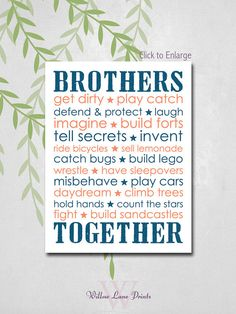 Twin brothers Nursery Decor, Brothers Subway Wall art, Boys bedroom decor, brothers nursery prints, children's wall art