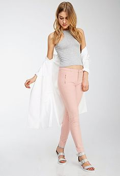Zip-Pocket Trousers | FOREVER21 - top, jeans, cardigan