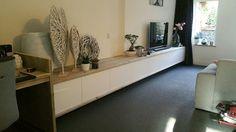 Tv meubel 480cm lang steigerhout oud hoogglans wit woonkamer