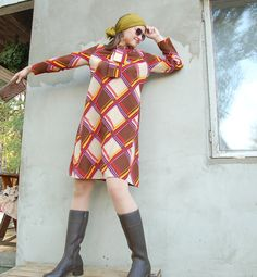 Vintage 1970's mini mod geometrical dress/vintage by semivint