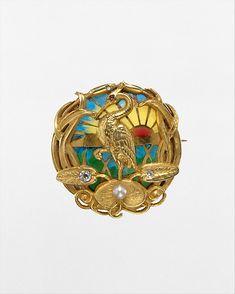 Watch Pin, Riker Brothers, Newark, NJ, USA, gold, plique-á-jour enamel, diamonds, pearl and ruby. Circa 1900