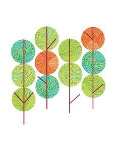 Autumn Trees - Illustration by Thom Sevalrud. Represented by Art Inc. Tree Illustration, Autumn Trees, Surface Design, Printable Wall Art, Illustrators, Hand Lettering, Plant Leaves, Seasons, Flowers