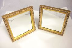 2 Gold Framed Square Standing Mirror NIB from SAKS Fifth Avenue $65 for 2 FREE Shipping  #SAKS #Contemporary