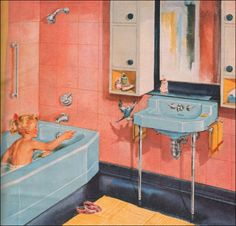 blue, coral, and yellow 1950s bathroom
