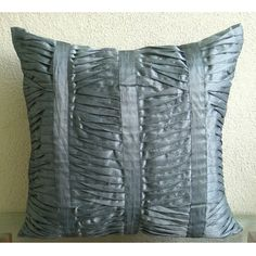 Handmade Grey Throw Pillows Cover 16x16 Silk by TheHomeCentric