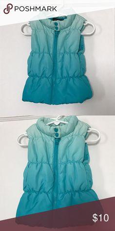 Toddler light weight puffer vest Blue ombré toddler puffer vest. Size says toddler 5 but fits more like a 3t Jackets & Coats Vests