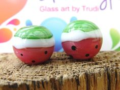Lampwork Glass Beads I Carried A Warermelon by GlitteringprizeGlass on Etsy for jewellery making