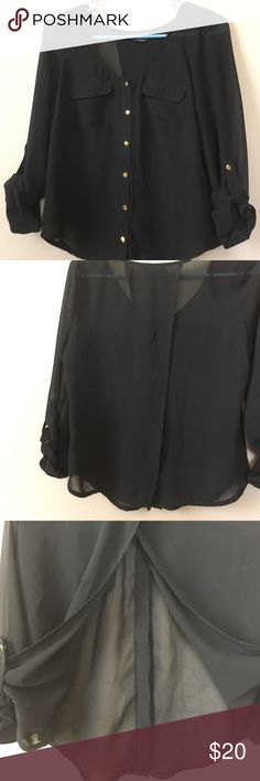 Bebe sheer open back blouse Bebe sheer open back blouse with buttons on the sleeves as well as buttons on the front. bebe Tops Blouses