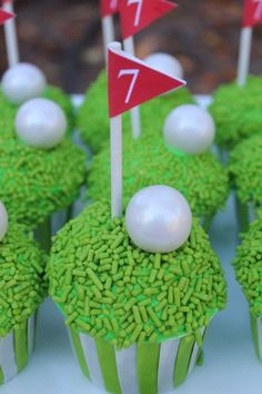 Golf Cupcakes and Sports Parties Golf Cupcakes, Themed Cupcakes, Cute Cupcakes, Golf Birthday Cakes, 50th Birthday Party, Golf Party, Sports Party, Sports Snacks, Fourth Of July Cakes