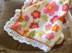 Flower Print Nursery Blanket, Fleece Blanket, Crocheted Blanket, Baby Girl Blanket by Lorettescottage on Etsy
