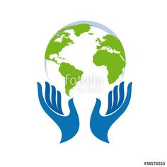 """""""Logo hand and the world # Vector"""" Stock image and royalty-free vector  files on Fotolia.com - Pic 38576553"""