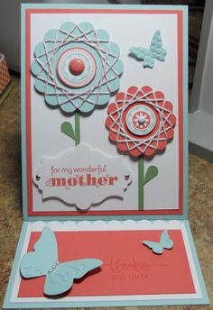 Spirelli Technique and Easel Card.  This card was as WOW as it gets - love this.  Chatty Stamper  ;)  Uses Quintessential Flower