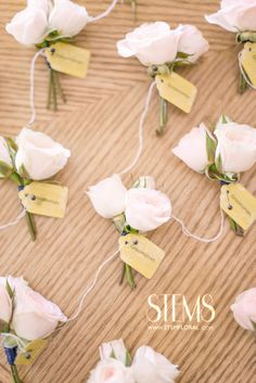 Blush spray roses wrapped in navy ribbon with the stems showing for the groomsmen. www.stemfloral.com  I wwwmichelleboydphotography.com