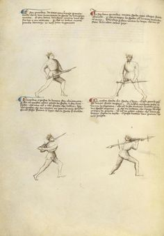 Combat with Sword Artist/Maker(s): Fiore Furlan dei Liberi da Premariacco, author [Italian, about 1340/1350 - before 1450] Date: about 1410 Medium: Tempera colors, gold leaf, silver leaf, and ink on parchment Dimensions: Leaf: 27.9 x 20.6 cm (11 x 8 1/8 in.) Object Number: 83.MR.183.22v Department: Manuscripts