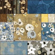 Gallery Fiori Fat Quarter Bundle in Denim - - want to make my step-mom a quilt with more sophisticated (vs. cutesy, pop) fabrics like this. More neutral colors even better. any other suggestions?