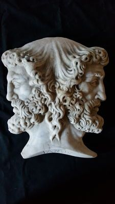 Double-faced Janus - marble high-relief - early 19th century