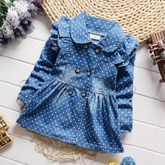 Cheap jeans babies, Buy Quality coat print directly from China coat military Suppliers: BibiCola  spring new children girls lovely polka dots denim jacket female baby cotton jean lapel coat kids emperament outfits