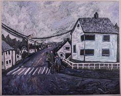 Amund Håland:   Fra norsk småby 2, 100x80 cm olje på lerret, 201...