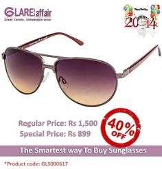 Farenheit FA-960 Brown Brown Gradient Aviator Sunglasses http://www.glareaffair.com/sunglasses/farenheit-fa-960-brown-brown-gradient-aviator-sunglasses.html Brand : Farenheit  Regular Price: Rs1,500 Special Price: Rs899  Discount : Rs601 (40%)