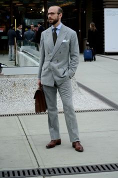 Anderson & Sheppard flannel suit worn by Simon Crompton