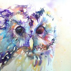 'Tawny Owl' by Liz Chaderton Owl Watercolor, Watercolor Animals, Watercolor Tattoo, Watercolor Paintings, Owl Paintings, Drip Art, Owl Art, Illustrations, Amazing Art