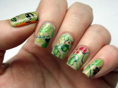 Attempt number 1 using the Born Pretty nail art brush. I was going for a Poison Ivy vines kind of look.