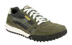 Skechers SK51328 Mens Relaxed Fit: Floater Lace Up Trainer Shoe - Olive/Blk OLBK  - Robin Elt Shoes  http://www.robineltshoes.co.uk/store/search/brand/Skechers-Mens/ #Autumn #Winter #AW14 #2014
