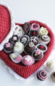 This box of chocolates looks good enough to eat.  Think again?  Use this as home decor or toys for a kid.  Free crochet pattern.
