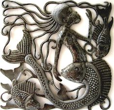 "HAITI METAL ART ...  February Sale – 10% discount View our huge selection of hand cut, recycled steel drum metal art. Click to view all ....  https://www.etsy.com/shop/HaitiMetalArt Metal Wall Art, Metal Mermaid Wall Hanging, Haitian Art, Metal Home Decor, Recycled Steel Drum Art of Haiti, Haitian Metal Art -17"" -461-17 by HaitiMetalArt on Etsy"