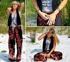 Forever 21 Fringe Vest, Diy Feather Necklace/Headband, Midnight Sun Floral Hippie Pants, Boulder Colorado Ganesh Ring, Diy Arrow Head Necklace, Rip Curl Braided Sandals