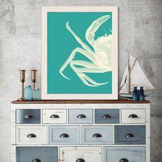 Crab, White on Turquoise Nautical print, sea picture, beach decor, wall decor, marine painting, crab print, nautical picture bathroom
