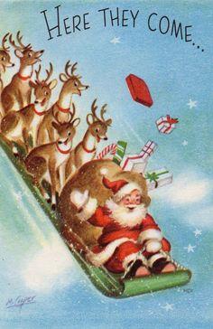 Vintage Santa, Vintage Christmas Cards, Retro Reindeer