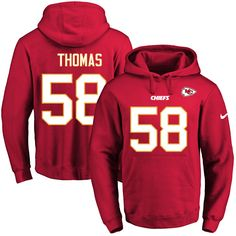 Nike Chiefs #58 Derrick Thomas Red Name & Number Pullover NFL Hoodie