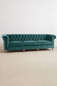 anthropologie | velvet grand lyre chesterfield sofa, wilcox