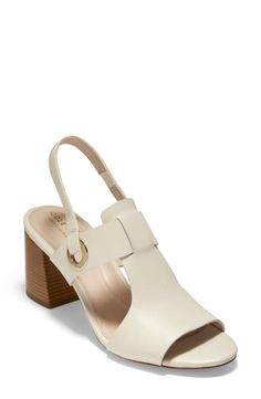 Cole Haan Grand Ambition Adele Slingback Sandal In Ivory Leather Fashion Sandals, Cole Haan Shoes, Slingback Sandal, Vintage Shoes, Designer Shoes, Block Heels, Open Toe, Ankle Strap, Adele