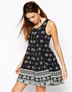 Enlarge Kiss The Sky Button Down Dress In Elephant Print