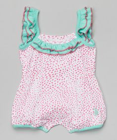 Another great find on #zulily! Pink Kite & Aqua Leopard Angel-Sleeve Romper - Infant by U.S. Polo Assn. #zulilyfinds