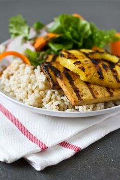 teriyaki grilled tofu with grilled pineapple + coconut rice – recipe from edible perspective