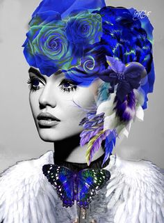 Art Illustrations, Illustration Art, Steampunk Top Hat, Flower Fashion, Color Splash, Favorite Color, Fantasy Art, Beautiful Women, Touch