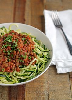 Zucchini Spaghetti with Easy Lentil Marinara Recipe. Vegetarian, vegan, and gluten-free.
