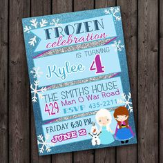 same day customized, Frozen invitation, frozen party, digital printable on Etsy, £6.12