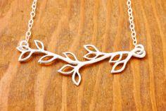 Silver Branch Necklace  branch pendant twig necklace by MegusAttic, $29.00